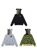BAPE(R) CAMO SHARK BE@R FULL ZIP HOODIE (BLACK/GRAY/CAMO)