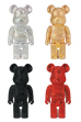 400% BE@RBRICK CRYSTAL BLACK/GOLD/SILVER/RED