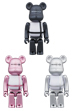 BE@RBRICK MEDICOM TOY PLUS BLACK/PINK/SILVER 100%