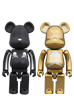 BE@RBRICK 超合金 mastermind JAPAN 2pack SILVER STRIPE & CHROME GOLD